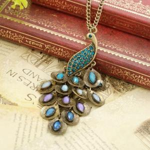 Beautiful peacock necklace, bronze