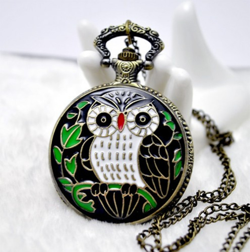 Beautiful owl watch necklace