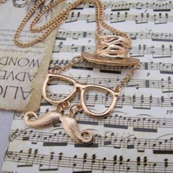 Fashion personality hats glasses mustache necklace, Gold Color