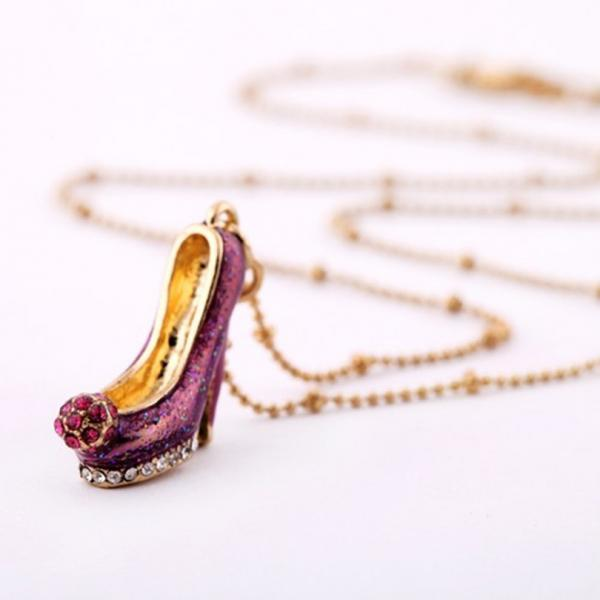 Beautiful high heels necklace , purple